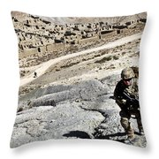 U.s. Army Soldiers And Afghan Border Throw Pillow