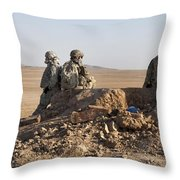 U.s. Army Soldiers At A Checkpoint Throw Pillow