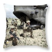 U.s. Army Soldiers Board A Ch-47 Throw Pillow