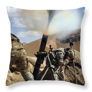 U.s. Army Soldiers Firing A 120mm Throw Pillow