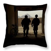 U.s. Army Soldiers Patrol A Village Throw Pillow