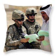 U.s. Army Soldiers Talking With A Town Throw Pillow by Stocktrek Images