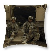 U.s. Army Soldiers Waiting At Patrol Throw Pillow