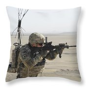 U.s. Army Specialist Scans His Area Throw Pillow
