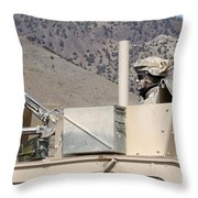 U.s. Army Specialist Scans His Sector Throw Pillow