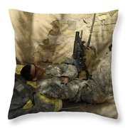 U.s. Army Specialist Takes A Nap Throw Pillow