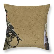 U.s. Army Specialist Talks To An Afghan Throw Pillow