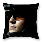 U.s. Army Specialist Waits To Dismount Throw Pillow