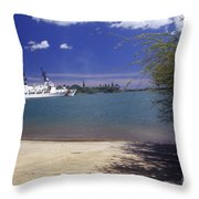 U.s. Coast Guard Cutter Jarvis Transits Throw Pillow by Michael Wood