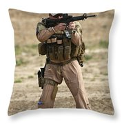 U.s. Contractor Firing A M4 Carbine Throw Pillow