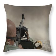 U.s. Contractor Firing The Pkm 7.62 Throw Pillow