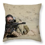 U.s. Contractor Sights In A Barrett Throw Pillow