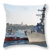Us Cruiser Docking In Istanbul Throw Pillow