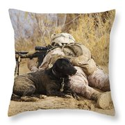 U.s. Marine And A Military Working Dog Throw Pillow