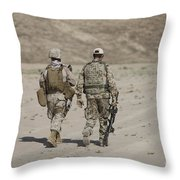 U.s. Marine And German Soldier Walk Throw Pillow