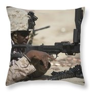 U.s. Marine Clears The Feed Tray Throw Pillow