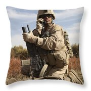 U.s. Marine Communicates Throw Pillow