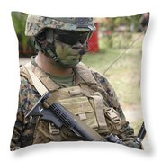 U.s. Marine Communicates Via Radio Throw Pillow