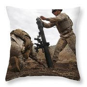 U.s. Marine Drops A Mortar Round Throw Pillow