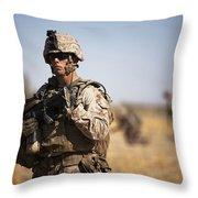 U.s. Marine During A Security Patrol Throw Pillow