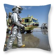U.s. Marine Firefighters Stand Ready Throw Pillow