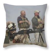 U.s. Marine Firing A Pk 7.62mm Machine Throw Pillow