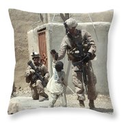 U.s. Marine Gives An Afghan Child Throw Pillow