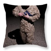 U.s. Marine Holding The American Flag Throw Pillow