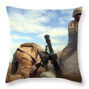 U.s. Marine Holds A Mortar Tube Steady Throw Pillow