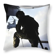 U.s. Marine Looks Out The Back Throw Pillow