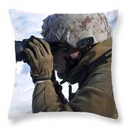 U.s. Marine Looks Throw Pillow