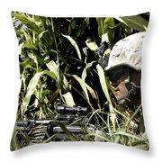 U.s. Marine Maintains Security Throw Pillow