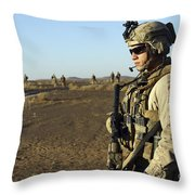 U.s. Marine Posts Security Throw Pillow