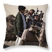 U.s. Marine Practices Pashto Throw Pillow