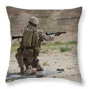 U.s. Marine Prepares A Fragmentation Throw Pillow