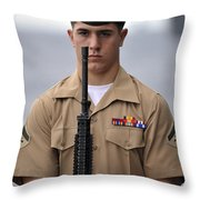 U.s. Marine Presents Arms During An Throw Pillow