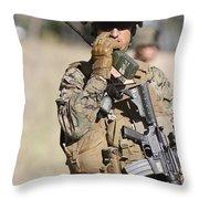 U.s. Marine Radios His Units Movements Throw Pillow by Stocktrek Images