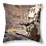 U.s. Marine Scans His Area While Throw Pillow