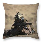 U.s. Marine Sights In A Barrett M82a1 Throw Pillow