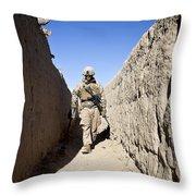 U.s. Marine Sweeps An Alleyway Throw Pillow