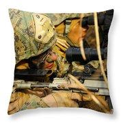 U.s. Marine Uses A Spotting Scope Throw Pillow