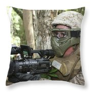 U.s. Marine Videotapes Combat Exercises Throw Pillow