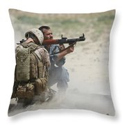 U.s. Marine Watches An Afghan Police Throw Pillow by Terry Moore