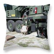 U.s. Marine Works On A Kalmar Rough Throw Pillow
