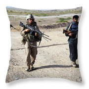 U.s. Marines And Afghan National Police Throw Pillow