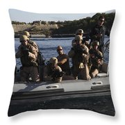 U.s. Marines Approach A Suspect Vessel Throw Pillow