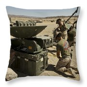 U.s. Marines Assemble A Satellite Dish Throw Pillow