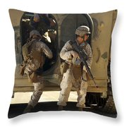U.s. Marines Climb Into The Back Of An Throw Pillow
