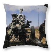 U.s. Marines Fire An M777 Howitzer Throw Pillow