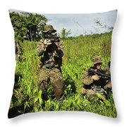 U.s. Marines Guard An Extraction Point Throw Pillow